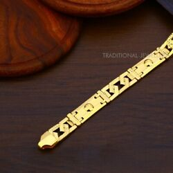 22k Yellow Gold Menand039s Bracelet Beautifully Handcrafted Diamond Cut Design 37