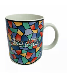 Coca Cola Mug Coffee Cup Mosaic Stained Glass Pattern Gibson Lot Of 3 Vintage