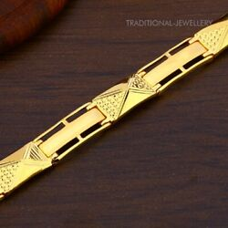 22k Yellow Gold Menand039s Bracelet Beautifully Handcrafted Diamond Cut Design 47