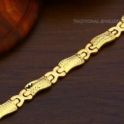 22k Yellow Gold Menand039s Bracelet Beautifully Handcrafted Diamond Cut Design 48