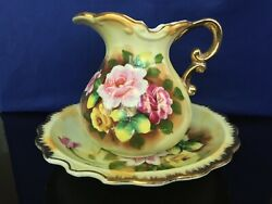 Pretty Lefton China Pitcher And Bowl With Hand Painted Roses