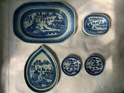 Antique 19th Century Chinese Export Canton Blue And White Dishes- Set Of 5