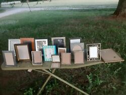 Lot Of 15 Vintage Wood Brass Gold Plated Metal Picture Frames-and 1 Recent Frame