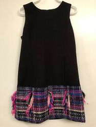 Milly Minis Girls Black Shift Dress W/ Tweed Bottom - Made In Usa - Size 8