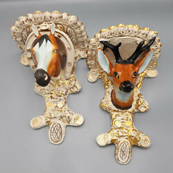 Pair of 19th C. Staffordshire Animal Form Brackets or Shelves