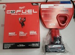 New Milwaukee M12 Fuel 2554-20 3/8 Stubby Impact Wrench W/ Xc4.0 Batt And Charger
