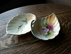 Lefton Double Leaves China Trinket Dish Gold Trim Hand Painted No. 4674