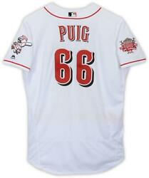 Yasiel Puig Reds Gu 66 White Jersey With 150 Patch Vs Brewers On July 4 2019