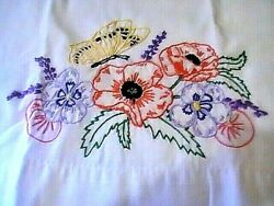 Vintage Lot Of 2 Embroidered Pillowcases Floral Butterflies Pansies 20 By 29