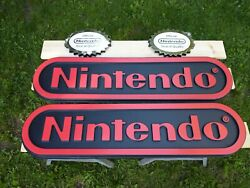 Nintendo Two Sided Store Display Sign W/ Official Seal. 4ft Long Video Link