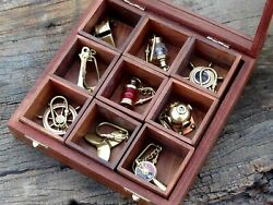 Lot Of 9 Nautical Brass Key Rings Key Chains Vintage Style Steampunk Gift Set