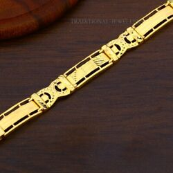 22k Yellow Gold Menand039s Bracelet Beautifully Handcrafted Diamond Cut Design 75