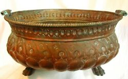 Italian Copper Wine Cooler Planter Repoussed W Claw Feet 18th Century