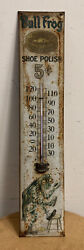 Extremely Rare Early Tin Bull Frog Shoe Polish Thermometer Sign Advertising