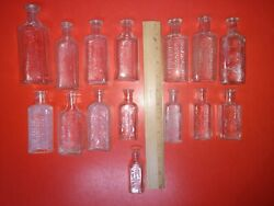 Vintage Glass Druggist Medicine Bottles All With The Name Harry On Them 15 Total