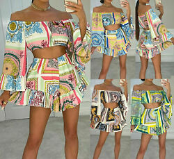 Womens Scarf Print Off Shoulder Crop Top Flared Shorts Summer Holiday Co Ord Set