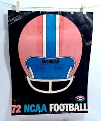 Vintage 1972 Ncaa Michigan Wolverines Football Poster W/ Schedule Look And Read