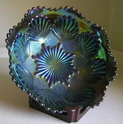 Imperial Shell And Sand Electric Blue Green Over Amethyst Carnival Glass Bowl 7.5