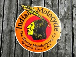 Xl Vintage Indian Motorcycle Porcelain Sign Hendee Mfg Roadmaster Chief Scout V2