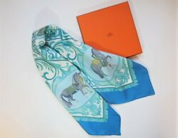 Hard-to-obtain White Blue Hermes La Ation Calle 90 Horse Silk Scarf Sold Vintage