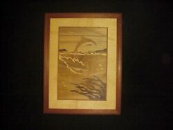 Hudson River Inlay 245 Dolphins 12.75 X 9.75 Inch Wood Marquetry Signed Nelson