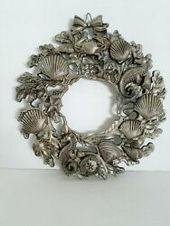 Pewter Trivet Nautical Beach Design Shells And Sea Creatures From England 9...