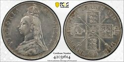 1887 Great Britain Double Florin S-3923 Arabic 1 Pcgs Xf Cleaned Km 763