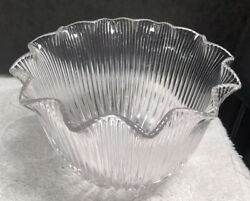 Antique 6 Holophane Prismatic Clear Glass Light Shade E60 12-point Ruffle