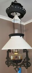 Antique Victorian Bradley And Hubbard Bandh Cast Iron Horse Hanging Oil Ceiling Lamp