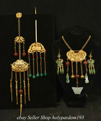 22.8 Old Chinese Copper Gilt Inlay Gems Dynasty 4 Jewelry Statue Set