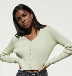 Brandy Melville John Galt Green Ribbed Soft Cropped Cardigan Sweater One Size