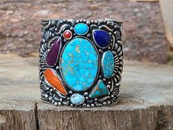 Native American Sterling Multicolor Turquoise Cuff Bracelet Signedto White 🥰