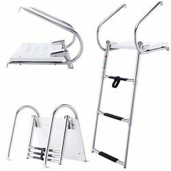 Co-z 3-step Collapsible Pool Ladder Telescoping Boat Ladder With Stainless Ste..