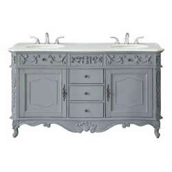 Winslow 60 In. W X 22 In. D Bath Vanity In Antique Gray With Vanity Top In With