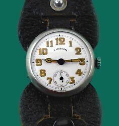 Vintage 1915 Antoine Lecoultre Silver Menand039s Wwi Military Trench Watch Porcelain