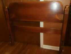 Vtg Antique Cushman Colonial Style Cannonball Twin Bed Solid Maple Headboard