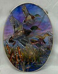 Amia Oval Suncatcher Coming Home 6638 Hand Painted Glass 6-1/2-inch By 9-in