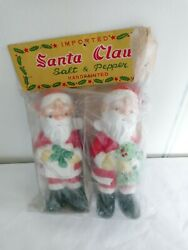Vintage Japan 5 Standing Santa Claus Salt And Pepper Shakers Set Imported New