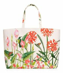 Estee Lauder White Floral with Butterfly Bird Large Tote Shopper Beach Bag *NEW* $12.89