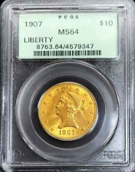 1907 Gold United States 10 Liberty Head Eagle Coin Pcgs Mint State 64 Ogh