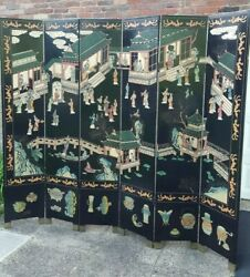 Vintage Chinese Lacquered Oriental Asian Wood Carved 6 Panel Room Divider Screen