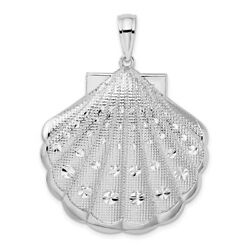 925 Sterling Silver Large Scallop Sea Shell Mermaid Nautical Jewelry Pendant