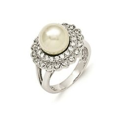 925 Sterling Silver Majestik 11mm White Shell Bead Cubic Zirconia Cz Band Ring