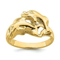 14k Yellow Gold Dolphins Swimming Band Ring Animal Sea Shell Life Fine Jewelry