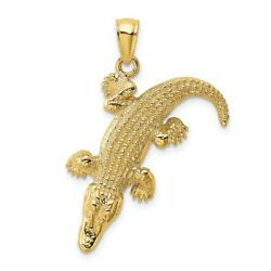 14k Yellow Gold 3 D Large Alligator Closed Mouth Pendant Charm Necklace