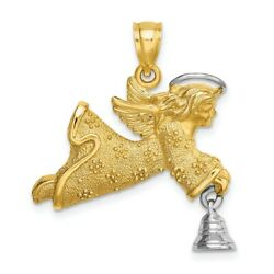 14k Flying Angel Moveable Bell Pendant Charm Necklace Religious Fine Jewelry