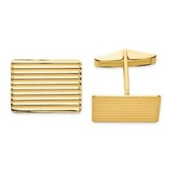 14k Yellow Gold Mens Grooved Cuff Links Cufflinks Link Fine Jewelry Dad Mens