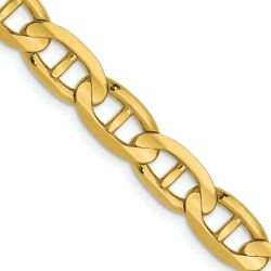 14k Yellow Gold 6.25mm Concave Link Anchor Chain Necklace 22 Inch Pendant Charm