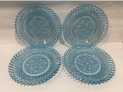 4 Set Vintage Blue Daisy And Button Pressed Glass 7.5 Luncheon Saucer Scalloped