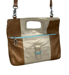 Tusk Leather Convertible Crossbody Clutch Two Tone Brown Turquoise Trim $29.99